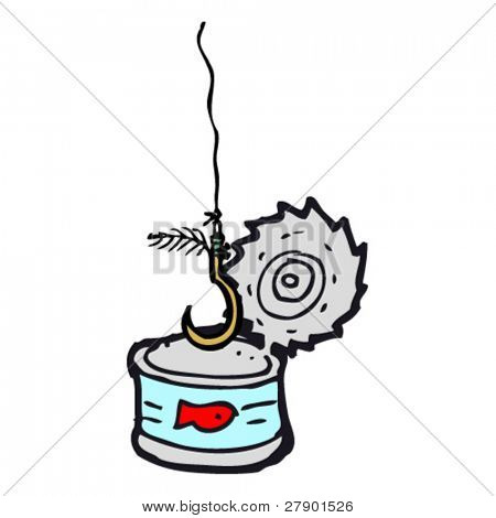 empty tuna can with fish hook cartoon