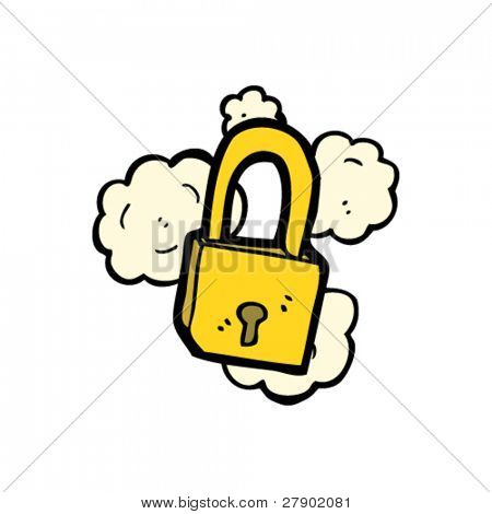 cartoon dusty old padlock