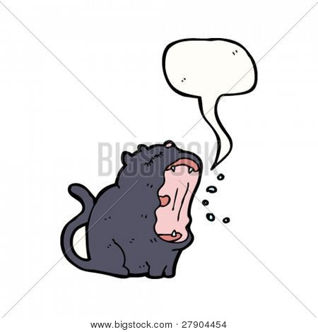 yawning black cat cartoon character
