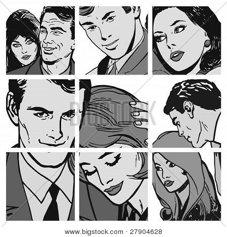Collection of illustrations showing couples in love