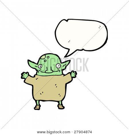 little goblin cartoon character with speech bubble