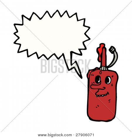 retro face ketchup cartoon character