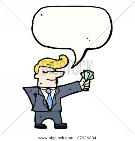 rich businessman with fistful of cash cartoon