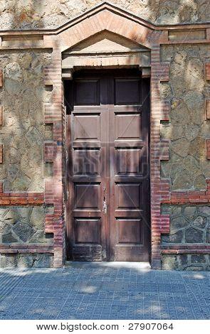 Aged Residental Door In Lloret De Mar, Spain.