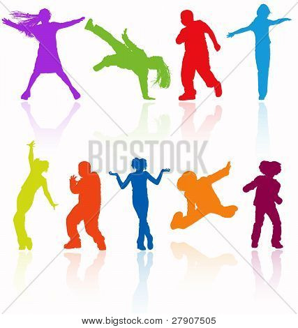 Set Of Colored Dancing, Jumping And Posing Teenagers Vector Silhouettes With Reflection.