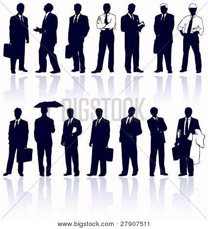 Set Of Vector Business People Silhouettes With Reflections.
