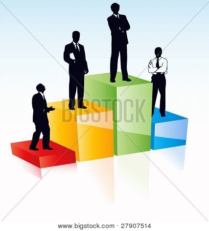 Vector Silhouettes Of Managers Business Team According Their Achievements.