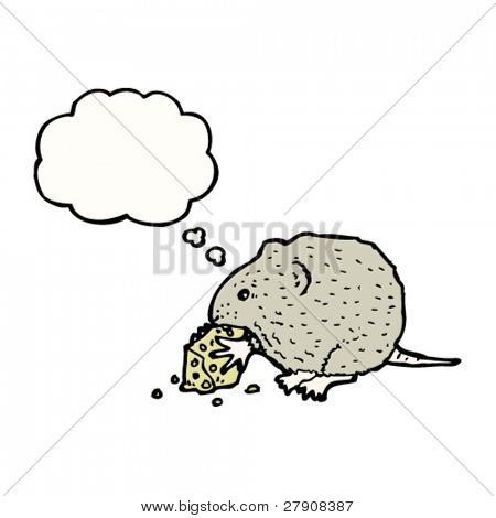 mouse nibbling cheese illustration