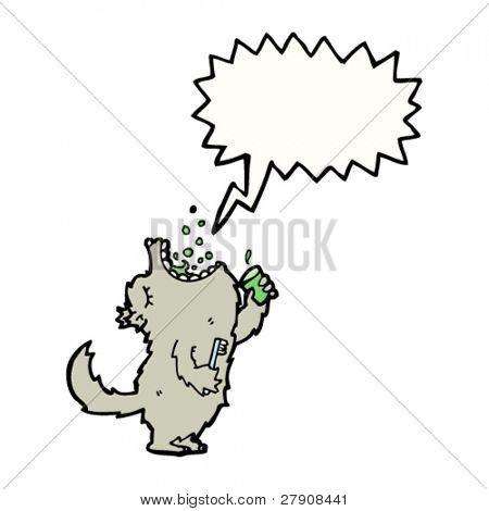 wolf gargling mouthwash cartoon