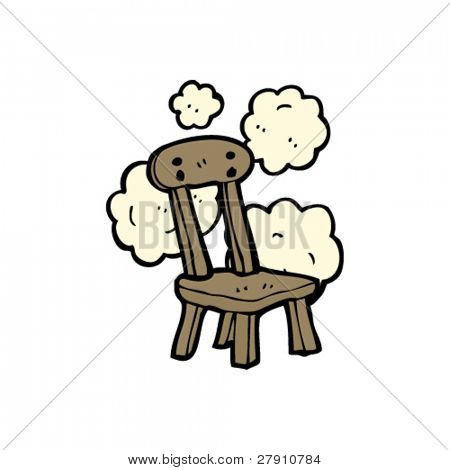 dusty old wooden chair cartoon