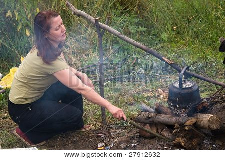 Woman And Bonfire