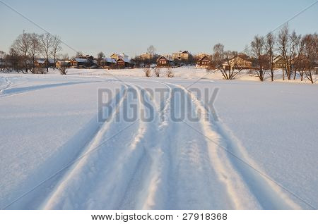 Houses Next To Icy Lake, Sunset