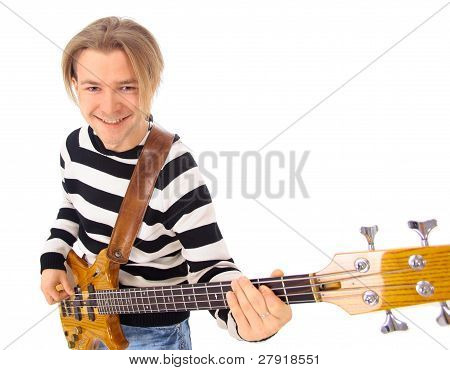 Young boy with electrical guitar isolated on a over white background