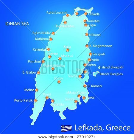 Island Of Lefkada In Greece Map