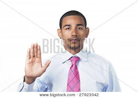 Hispanic Man Taking Oath