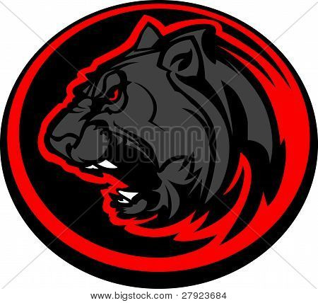 Panther Mascot Head Vector Graphic.