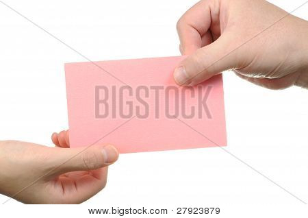 Handing business card