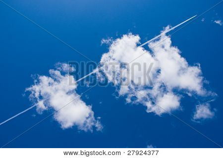 Tail Gas of a Plane and White Cloud