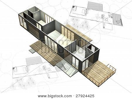 Housing architecture plans with 3D building structure