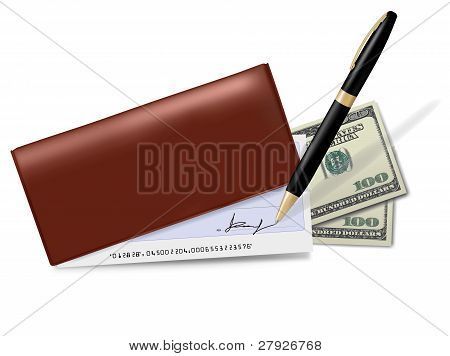 Brown checkbook with check, calculator and dollars.