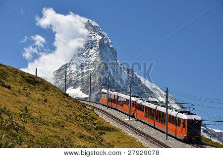 Gornergrat Train And Matterhorn (monte Cervino), Switzerland Landmark