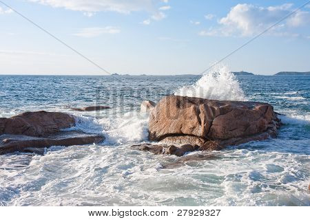Ocean Waves Breaking At  The Granite Coast Of France, Brittany