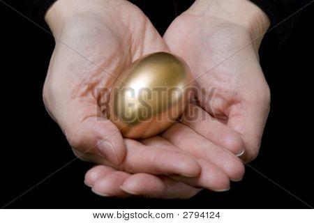 Hands Holding Gold Egg