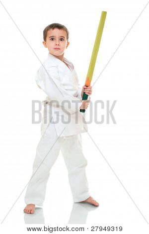 Karate Boy With Toy Sword In White Kimono