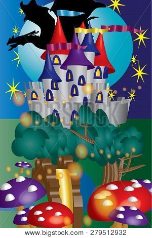A Magical Castle Scene With