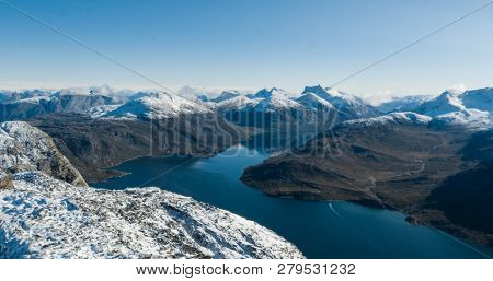Greenland nature mountain landscape aerial