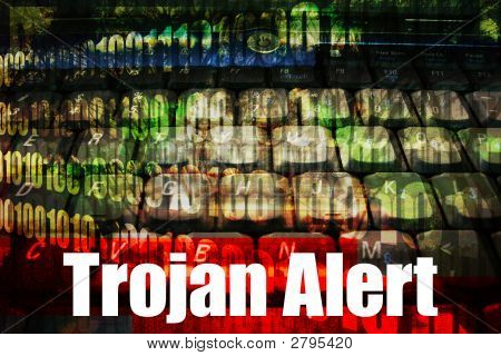 Trojan Alert On A  Technology Background