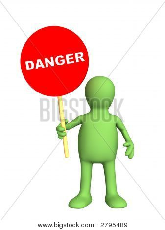 3D Person - Puppet,  Holding In A Hand Sign Danger