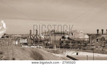 Industrial Steel Mill In Sepia
