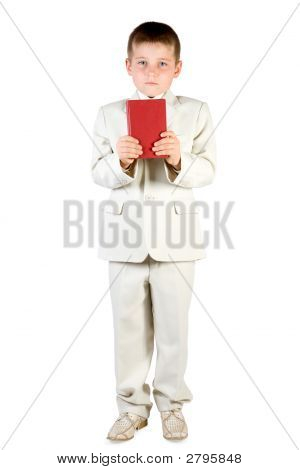Well-Dressed Boy Hold Book