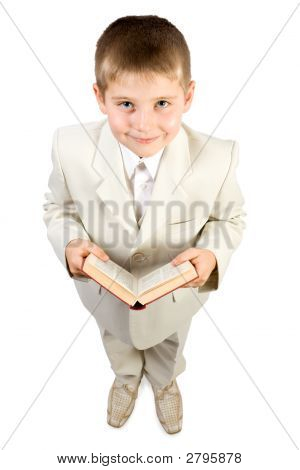 Well-Dressed Smiling Boy Hold Book