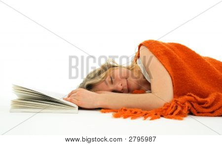 Girl Fallen Asleep With A Book