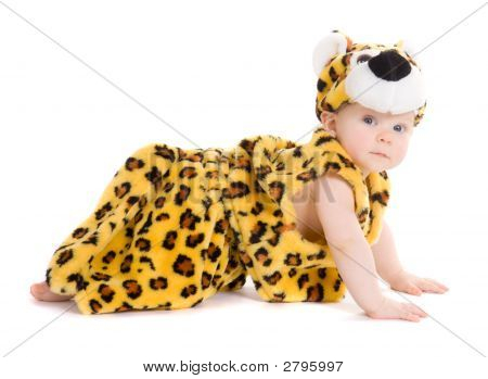 Baby boy in leopard spot costume