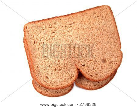 Two Stacked Pieces Of Breads (Whole Grains Or Wheat)