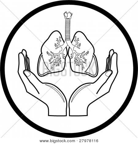 Medical icon. Protection of lungs. In my portfolio there is version 4 in 1.