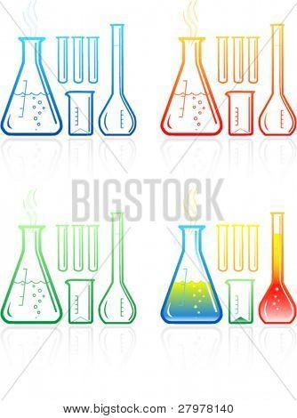 Tubos de ensaio químico ícones
