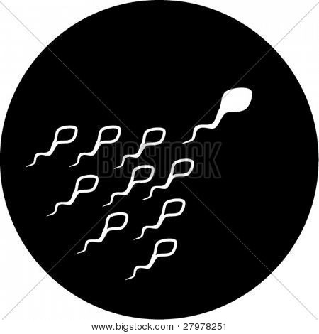Vector spermatozoid icon. Black and white. Simply change. In my portfolio there is version 4 in 1.