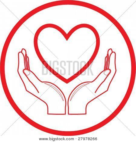 Icono de corazón y manos de vector. Rojo y blanco. Simplemente cambiar. En mi cartera hay versión 4 en 1.