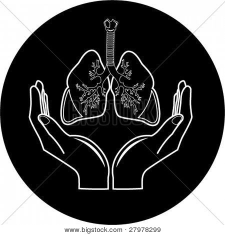 Medical icon. Protection of lungs. Black and white. Simply change. In my portfolio there is version 4 in 1.