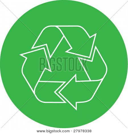 Vector recycle icon. Green and white. Simply change. In my portfolio there is version 4 in 1.