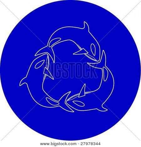 Vector killer whale icon. Blue and white. Simply change. In my portfolio there is version 4 in 1.