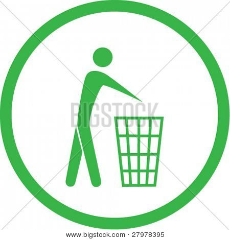 Vector recycling bin icon. Green and white. Simply change. In my portfolio there is version 4 in 1