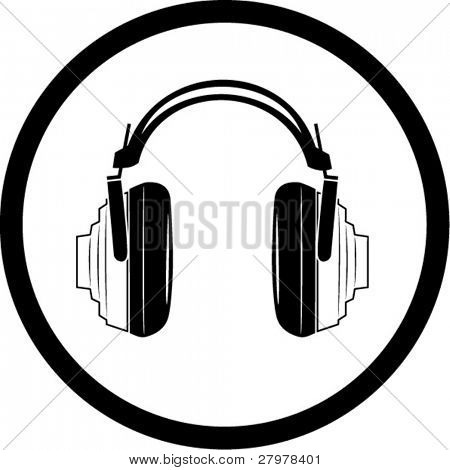 Vector headphones icon. Black and white. Simply change. In my portfolio there is version 4 in 1