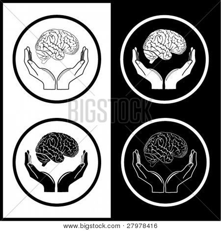 Protection of brain. Vector medical icons. Black and white. Simply change.