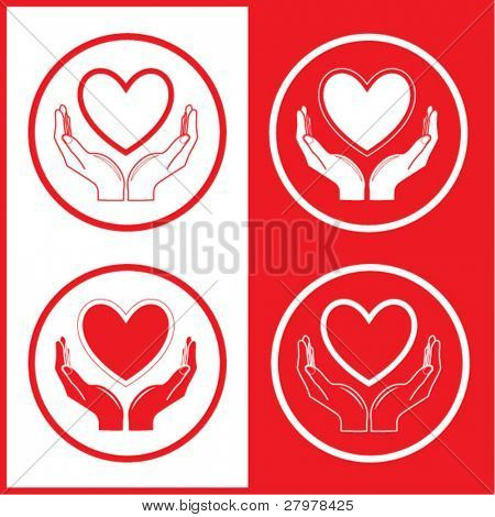 Vector heart and hands icons. Red and white. Simply change.
