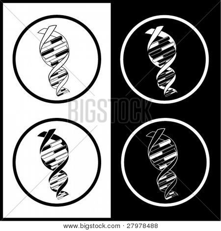 Vector DNA icons. Black and white. Simply change.